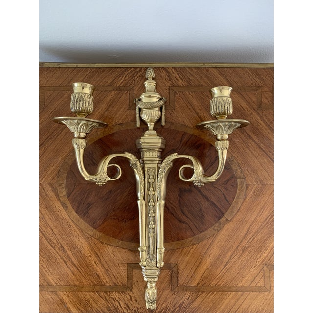 Metal Vintage Brass Neoclassical Style Candle Sconce For Sale - Image 7 of 7