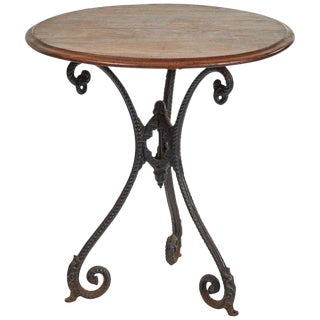 Iron Side Table With Mahogany Top For Sale