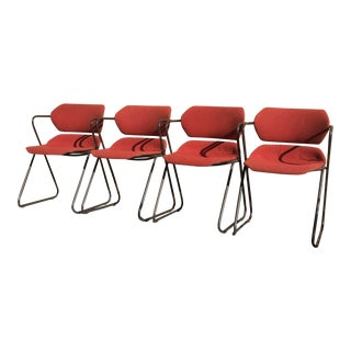 Mid Century Orange and Charcoal Grey Acton Stacker Chairs- Set of 4 For Sale