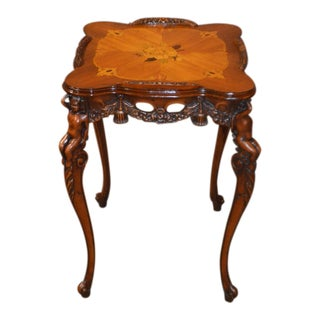 Vintage French Style Carved & Inlaid Walnut Cherub Accent Table