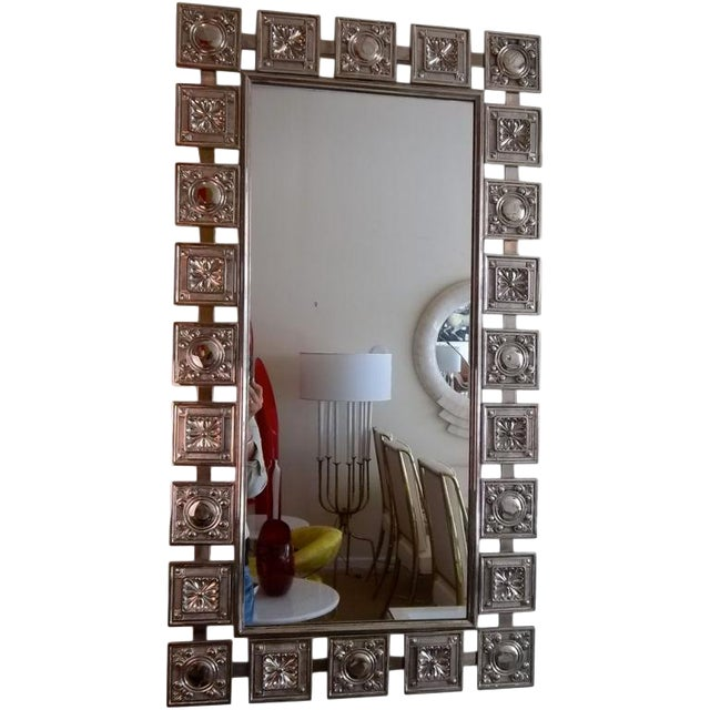 Mid Century Modern Nickeled Silver Wall Mirror For Sale