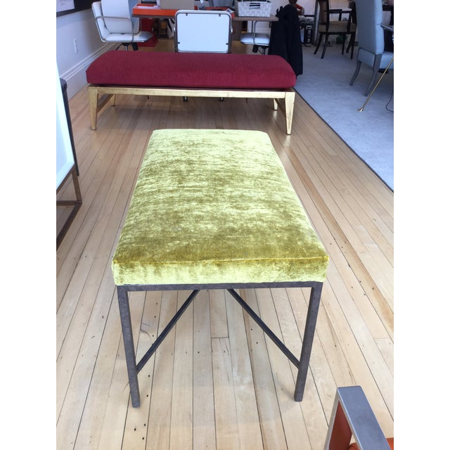 Custom upholstered bench in a beautiful vibrant chartreuse velvet fabric.