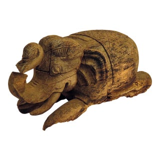 20th Century Thai Carved Wood Elephant Stool For Sale