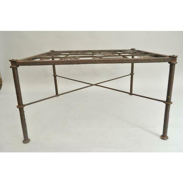 Metal and Glass Square Brutalist Coffee Table With Native American Glyph Figures For Sale - Image 4 of 11