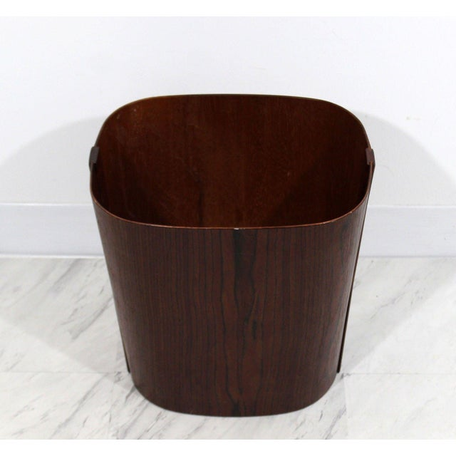 Mid Century Modern Small Wooden Wastebasket Trash Can Mobler Denmark 1960s For Sale - Image 4 of 12