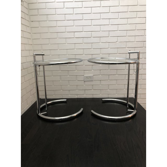 Mid-Century Modern Eileen Gray Inspired Chrome End Tables - a Pair For Sale - Image 3 of 10