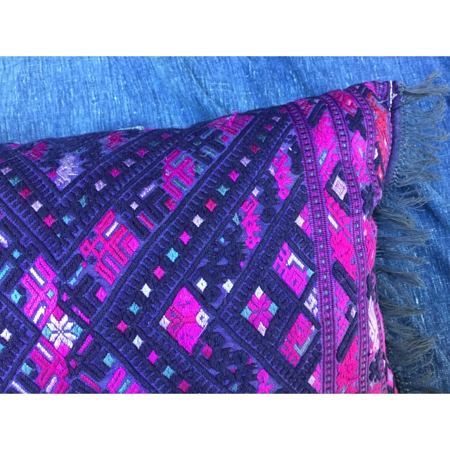 Magenta & Purple Tribal Embroidered Pillow - Image 5 of 6