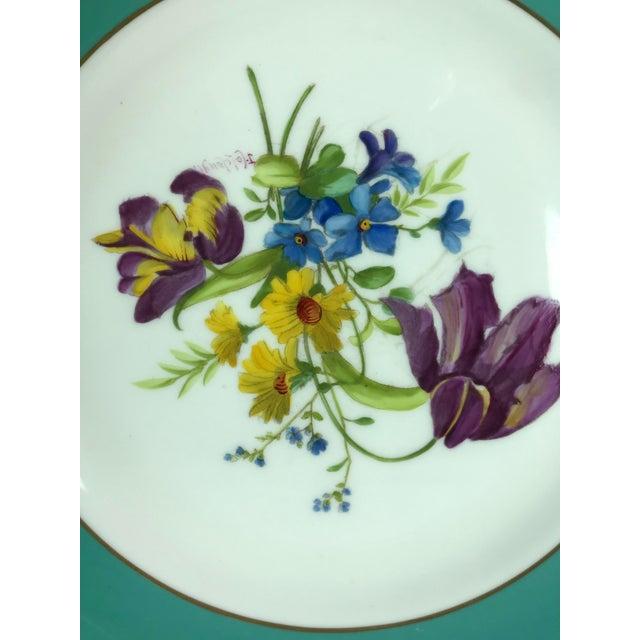 1950s Signed J. Colclough Minton H4780 Hand Painted Floral Aqua Rim Plates - Set of 12 For Sale - Image 5 of 13