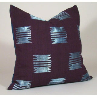 Boho Chic Burgundy Geometric African Aso Oke Pillow Cover Preview