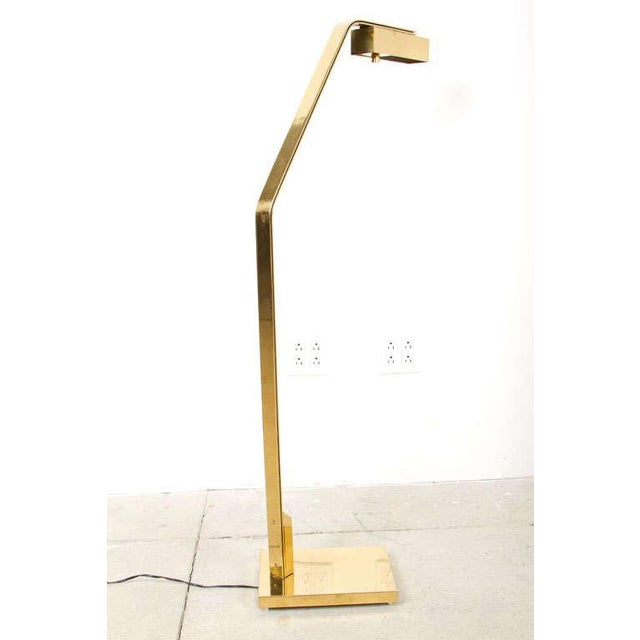 A substantial halogen reading lamp with dimmer control. The rectangular box shade is attached to a double flat bar stem...