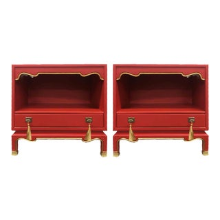 Mid Century Solid Wood Nightstands in Red & Gold Newly Refinished - a Pair For Sale