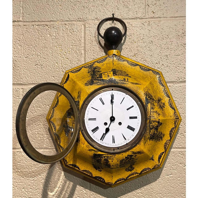 Metal 19th Century, French Napoleon III Painted Tole Wall Clock For Sale - Image 7 of 12