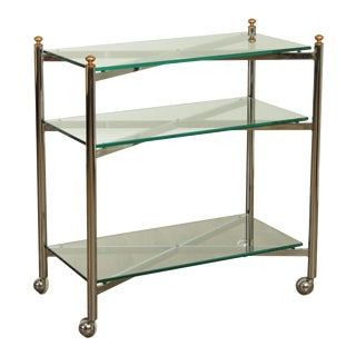 Directoire Style Vintage Chrome And Glass 3 Tier Bar Cart For Sale