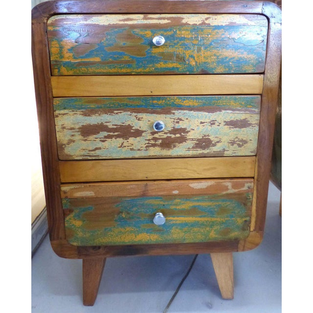 1950's Style Distressed Finish Wood Nightstands -A Pair - Image 3 of 10