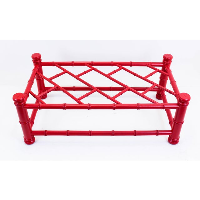 Coral Palm Beach Style Coral Red Coffee Table For Sale - Image 7 of 9