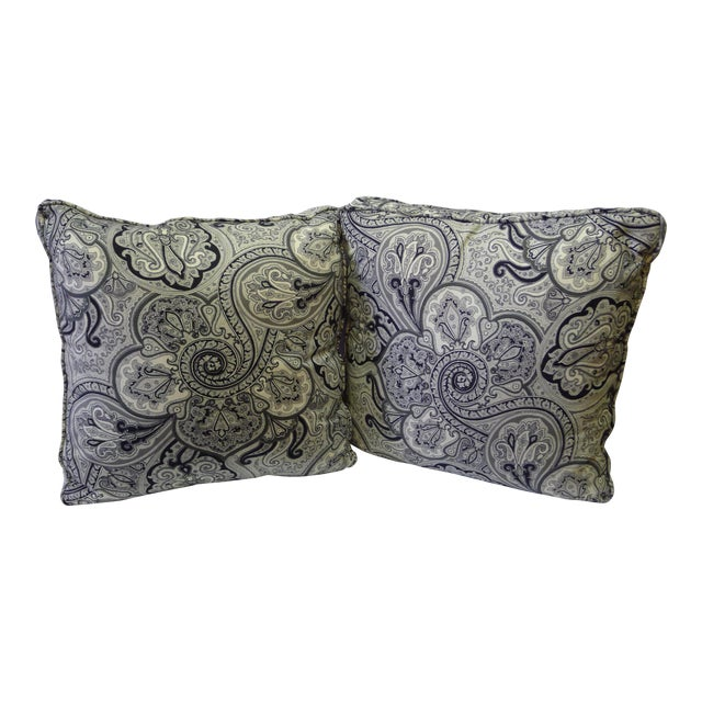 Contemporary Cotton Paisley Black and White Pillows - a Pair For Sale