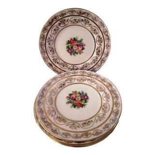 Vintage 22k Floral Dessert Plates - Set of 6