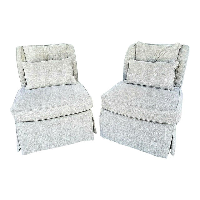 Henredon Upholstery Collection Swivel Winged Slipper Lounge Chairs - Set of 2 For Sale