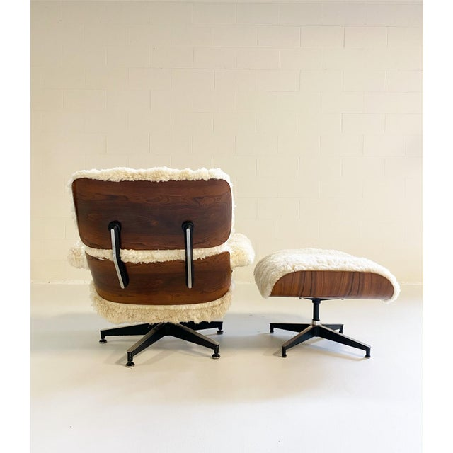 Feather Charles and Ray Eames 670 Lounge Chair and 671 Ottoman in California Sheepskin For Sale - Image 7 of 13