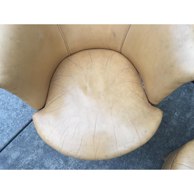 Light Yellow Vintage Spanish Barrel Back Leather Chairs- a Pair For Sale - Image 8 of 13