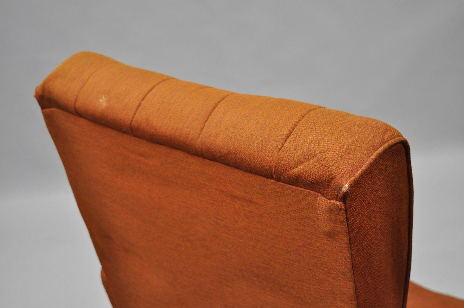 Vintage Mid Century Modern Mak Kraft Of Michigan Orange Fabric Swivel  Lounge Chair   Image 10