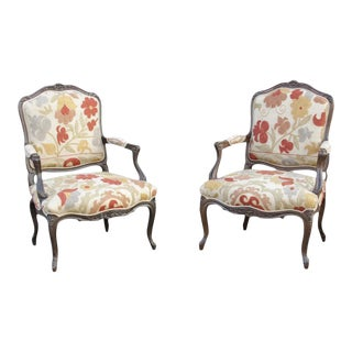 Antique French Carved Walnut Suzani Chairs - a Pair