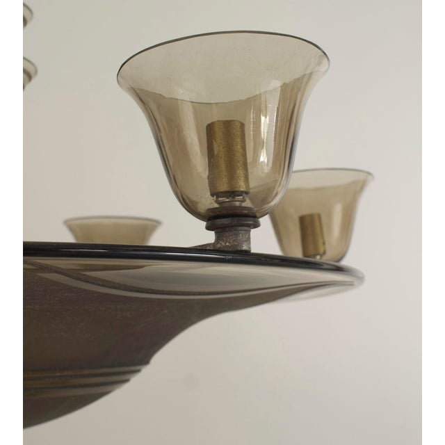 Art Deco 1930s French Art Deco Smoky Glass Dome Shaped Chandelier For Sale - Image 3 of 5