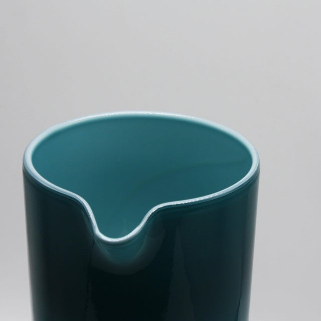 Moretti Empoli Teal Cased Glass Pitcher, C. 1960 For Sale - Image 4 of 6