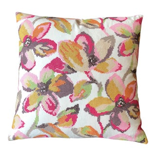 Jane Churchill Cross Stitch Embroidered Pillow
