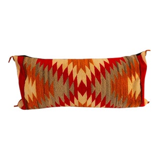 Amazing Early Navajo Geometric Bolster Pillow For Sale