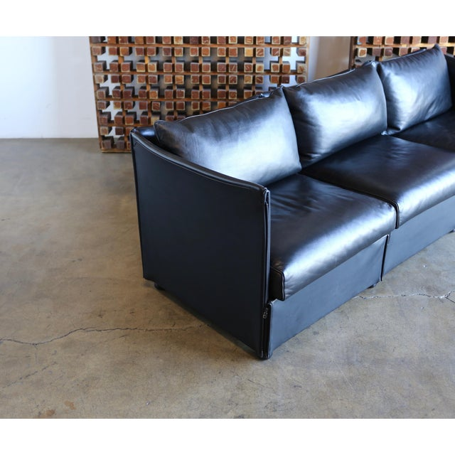 1980s 1980s Vintage Leather Landeau Sofa by Mario Bellini for Cassina For Sale - Image 5 of 12