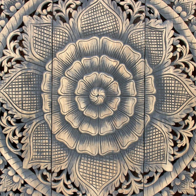 Traditional Dark Aged Lotus Panel For Sale - Image 3 of 5