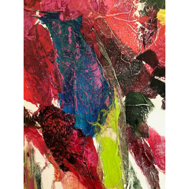 Large Vintage Abstract Paint and Paper Mache on Canvas by Nettie Hardman For Sale - Image 9 of 12