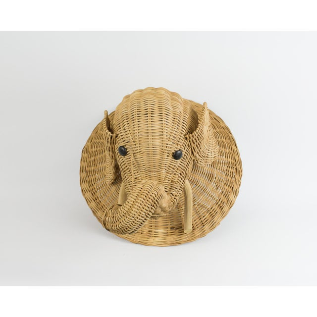 Boho chic wicker elephant wall hanging. Faux taxidermy wall mount. Would look great in a nursery or in Florida/ sun room....