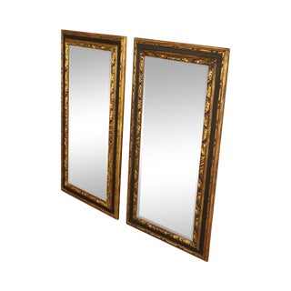 Italian Hollywood Regency Gilt Wood Black & Gold Pair Beveled Mirrors For Sale