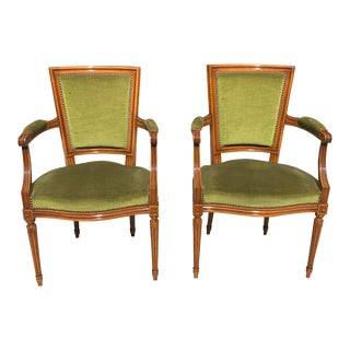 1910s Vintage French Louis XVl Solid Mahogany Accent Chairs or Bergeres Chairs - a Pair For Sale