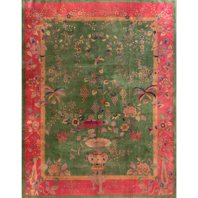 """1920s Antique Chinese Art Deco Rug 8'10"""" X 11'6"""" For Sale - Image 5 of 5"""