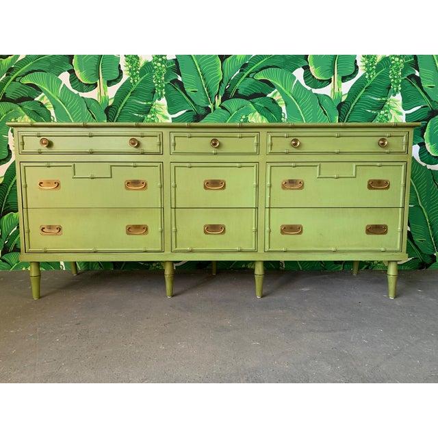 Metal Vintage Ficks Reed Faux Bamboo Dresser For Sale - Image 7 of 7