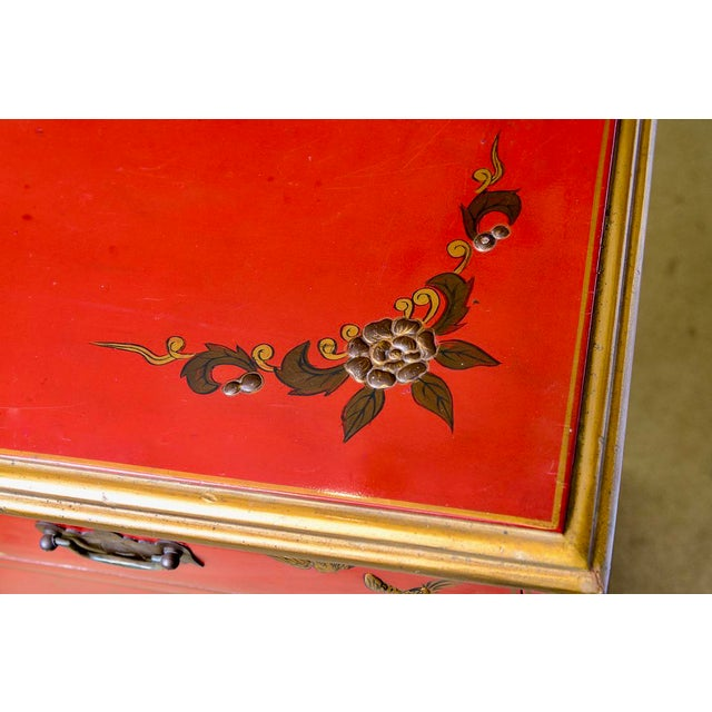 Chinoiserie Chinoiserie Red Lacquer Chest of Drawers For Sale - Image 3 of 13