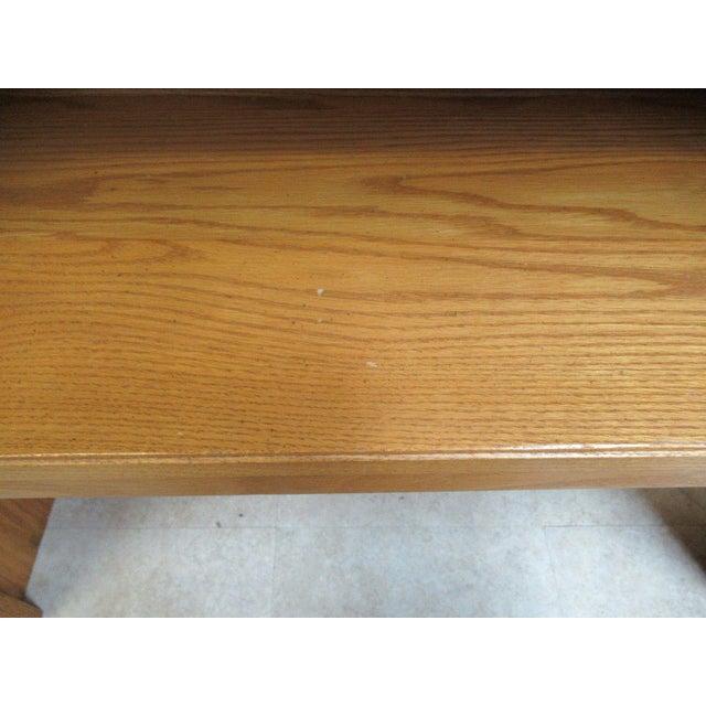 Ethan Allen Chippendale Canterbury Oak Dresser Hutch Top Shelf - Image 7 of 9