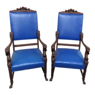 Early 20th Century Renaissance Style Cherub Throne Chairs- A Pair For Sale