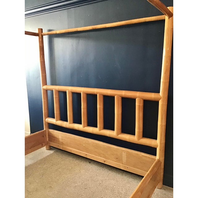 1980s Vintage Boho Chic King Size Bamboo Canopy Bedframe For Sale - Image 5 of 12
