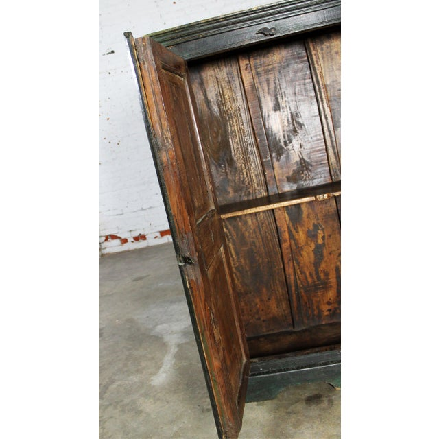 Rustic Primitive Cupboard Storage Cabinet with Distressed Paint For Sale - Image 6 of 11