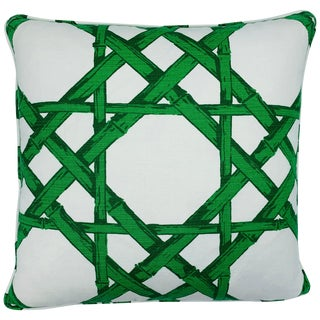 Thibaut 'Cyrus Cane' in Emerald Green and White Pillow, Custom For Sale