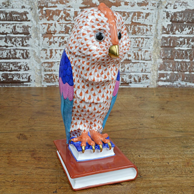 Herend Porcelain Owl on Books, Facing Right For Sale - Image 11 of 11