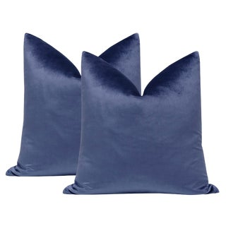 "22"" Italian Silk Velvet Pillows in Sapphire - a Pair For Sale"
