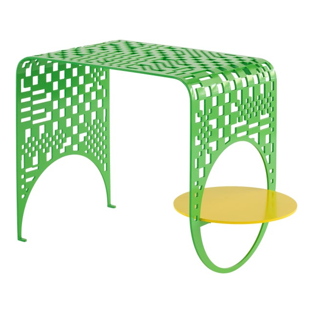 Contemporary Thin Check Table in Powder Coated Steel in White, Yellow, and Green For Sale