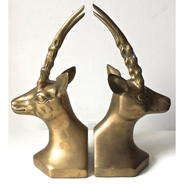 Vintage Large Brass African Deer Bookends - a Pair - Image 6 of 6