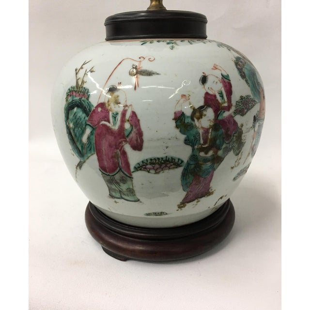 Asian Vintage Famille Rose Court Children Playing Jar Table Lamp For Sale - Image 3 of 6