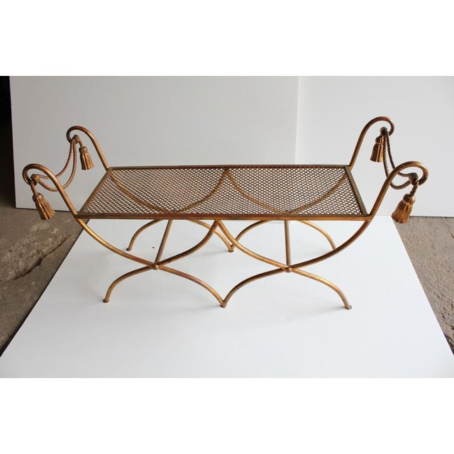 Midcentury Italian Gold Leaf Wrought Iron Bench - Image 2 of 2